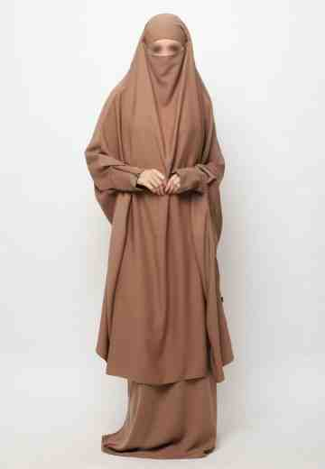 Muazah Set French Khimar - Coklat