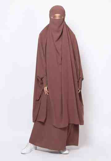 Muazah Set French Khimar - Cocoa