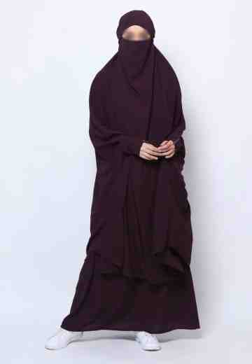 Muazah Set French Khimar - Darkplum