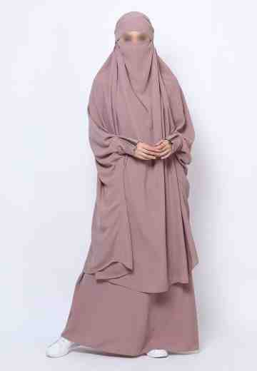 Muazah Set French Khimar - Mocha