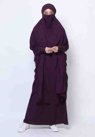 Muazah Set French Khimar - Ungu