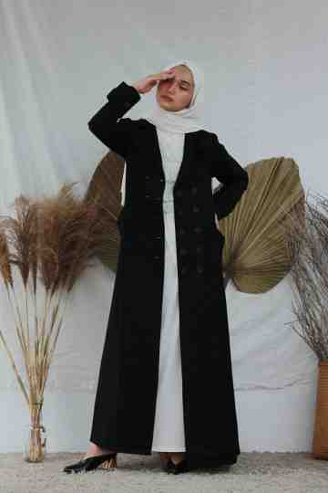 Long Cotton Coat -  Black