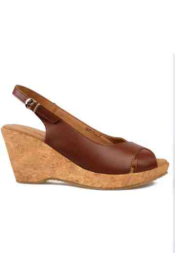 Celine Peep Toe Wedges Brown