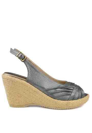 Brenda Sling Back Wedges Pewter Metallic