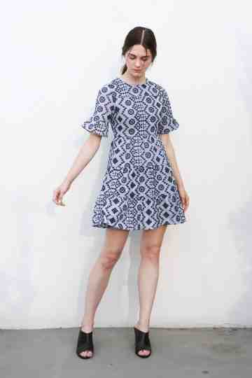 12615 Embroidery Stripe Dress