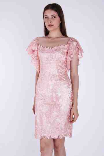 Flare Sleeve Brocade Dress