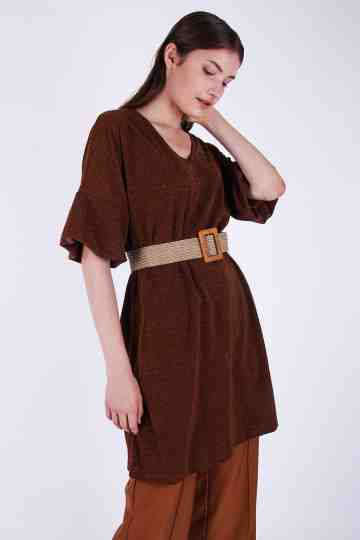 Shimmer Spandex Blouse Dress + Belt
