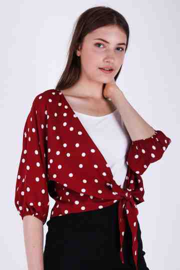 Crop Polkadot Outer
