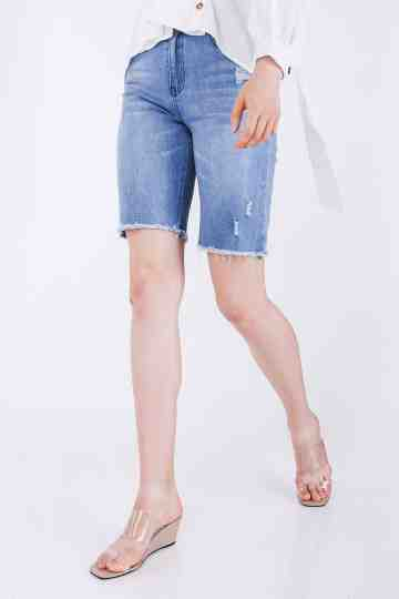 Quarter Length Ripped Jeans