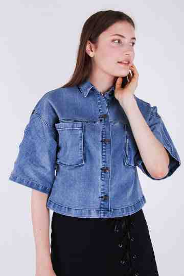 Pocket Denim Blouse