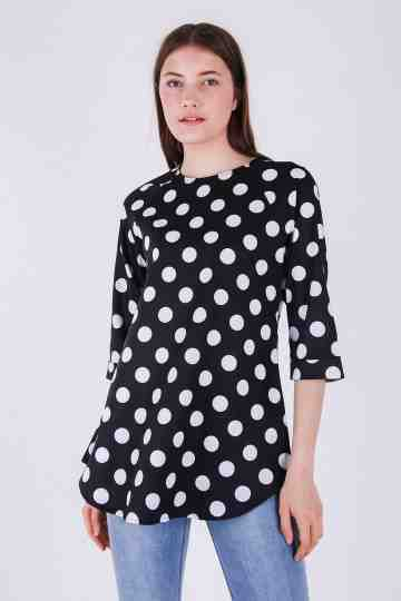 Satin Stretch Polkadot Blouse