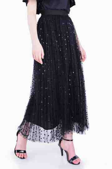 Net Polkadot Long Skirt