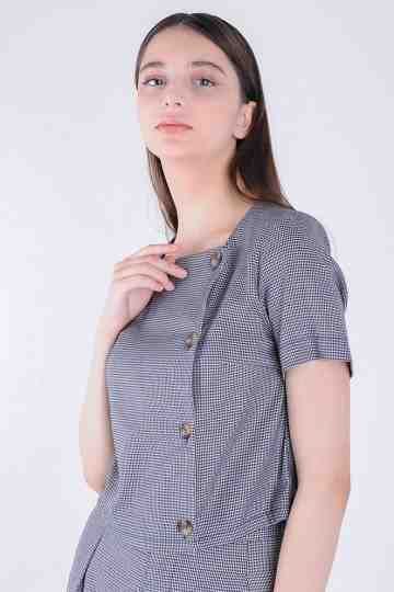 A Check Blouse With Buttons