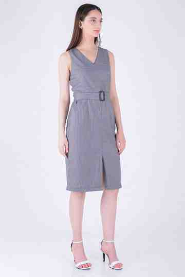 Check Fit Dress With Belt