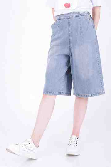 Knee Length Denim Cullote Pant