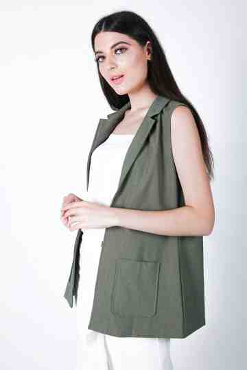 Rayon Polyester Vest With Belt