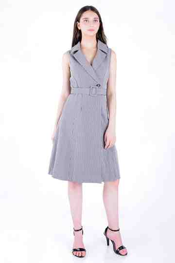 Midi Check Trench Dress With Belt