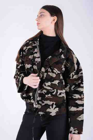 ARMY PRINTED JACKET WITH POCKETS