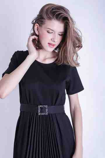 BLACK DRESS WITH DIAMOND BELT
