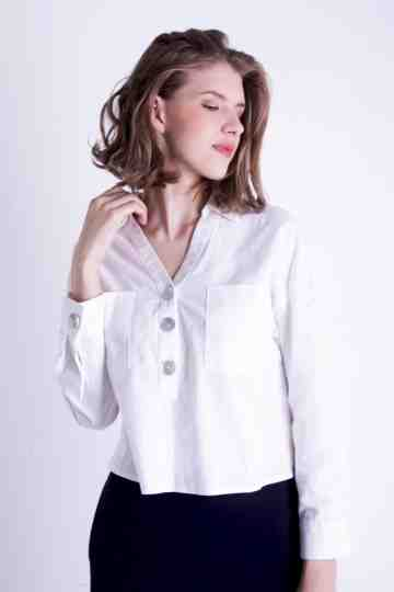 LINEN COLLAR BLOUSE