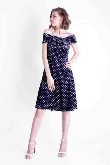 VELVET POLKADOT DRESS