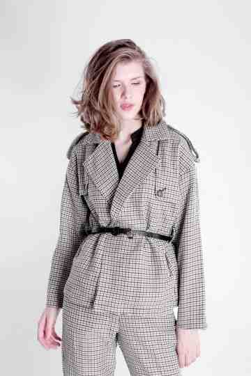 HOUNDSTOOTH FLANEL BLAZER WITH BELT