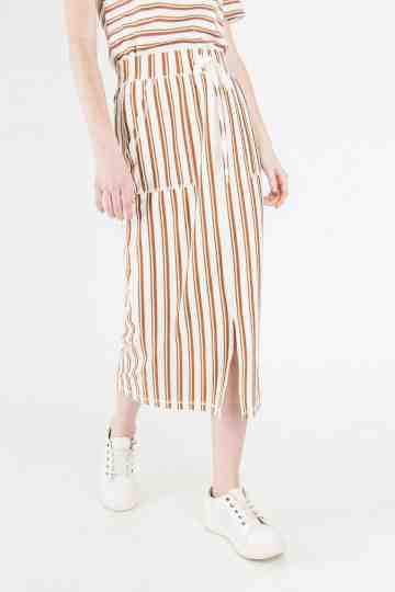 STRIPE SPANDEX MIDI SKIRT