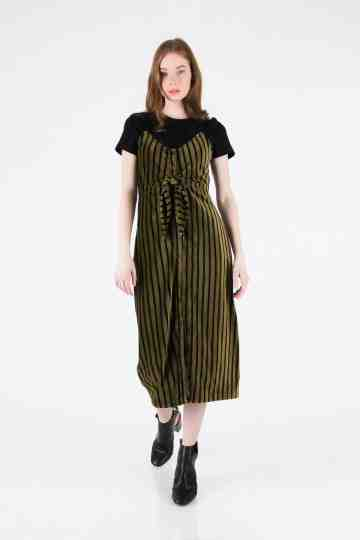 STRIPE VELVET MIDI DRESS