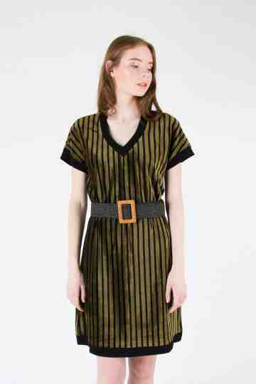 STRIPE VELVET BLOUSE DRESS WITH BELT