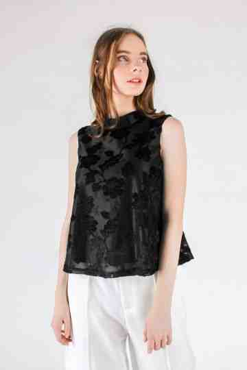 FLOWER TEXTURE VELVET SLEEVELESS BLOUSE