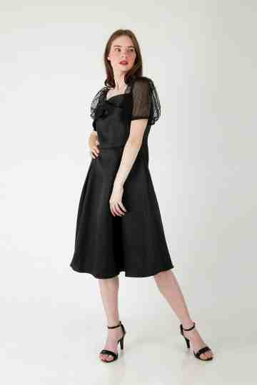 PUFF SLEEVE SATIN DRESS 4655