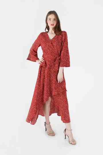 HIGHLOW POLKADOT MIDI DRESS