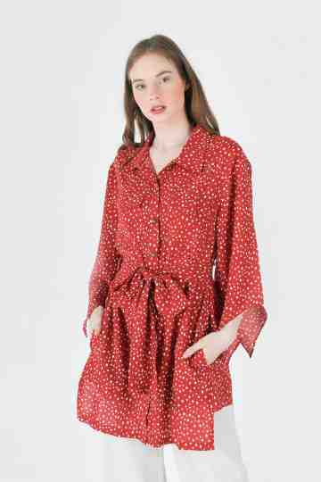 POLKADOT ASYMETRIC SLEEVE BLOUSE WITH BELT