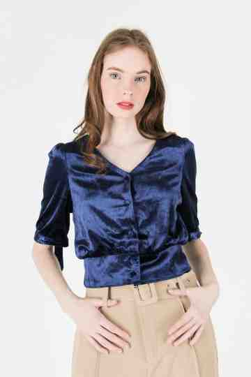 VELVET CROP BLOUSE 18628