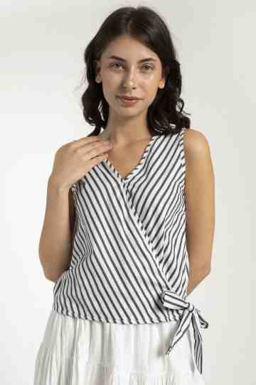 ZETA SLEEVELES STRIPE BLOUSE BL-149