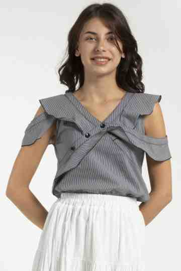 SLEEVELESS STRIPE BLOUSE 19080A