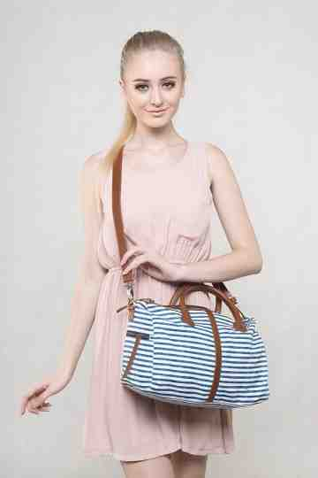 Navy striped satchel series image