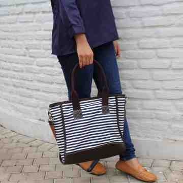 (PRE ORDER) Tote Bag Black Stripped Canvas image