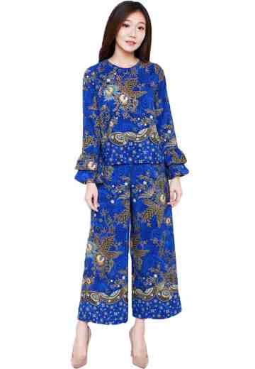 Set 2 Layers Sleeve Blouse & Cullote 05 Blue Queen Fan