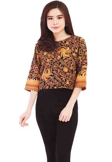 3/4 Sleeve Blouse Gold Feather