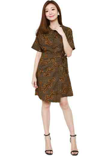 Asymetric Button Dress Brown Almeta