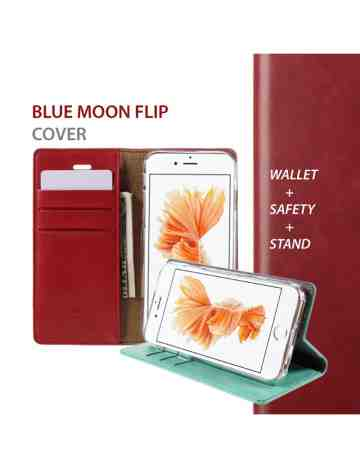 Goospery - Blue Moon Flip Case for iPhone XS Max - Red