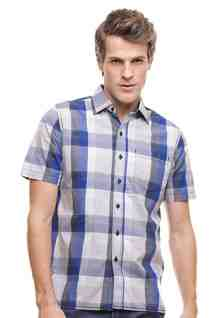 Regular Fit - Kemeja Casual - Motif Kotak - Biru