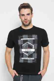 Slim Fit - Kaos Casual Active - Motif Batik - Hitam