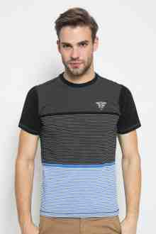 Slim Fit - Kaos Fashion - Motif Salur - Color Block - Hitam