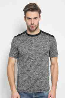 Slim Fit - Kaos Fashion - Aksen Ring Hitam - Corak - Abu