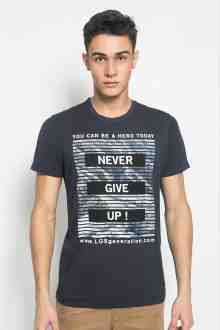Slim Fit - Kaos Youth Boy - Motif Sablon  NEVER GIVE UP - Navy