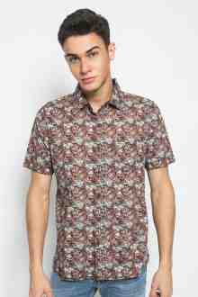 Regular Fit - Kemeja Casual - Full Motif - Coklat