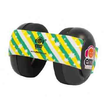 EMS Black Earmuff 4Bubs - Green Gold Stripes