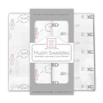 Swaddle Designs Muslin Swaddle Bunnie XOXO (Isi 2)
